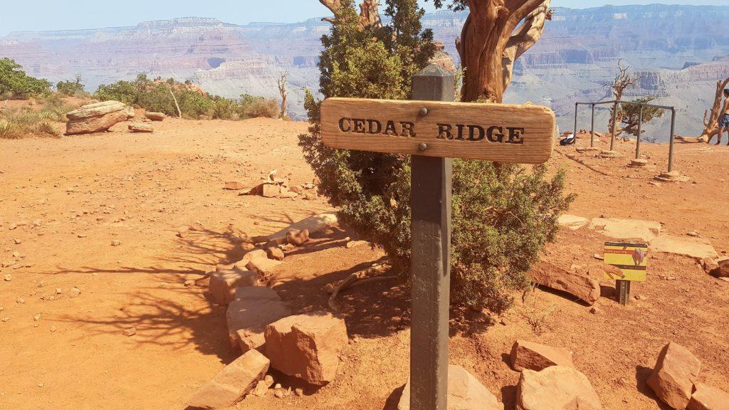 Schild bei Cedar Ridge auf dem South Kaibab Trail