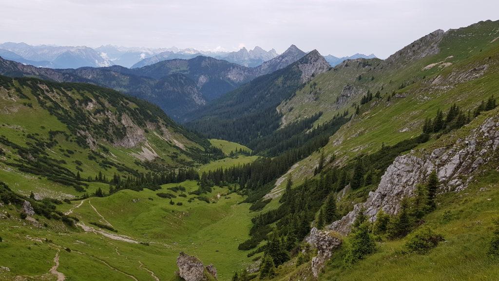 Blick vom Roggentalsattel in ein Tal