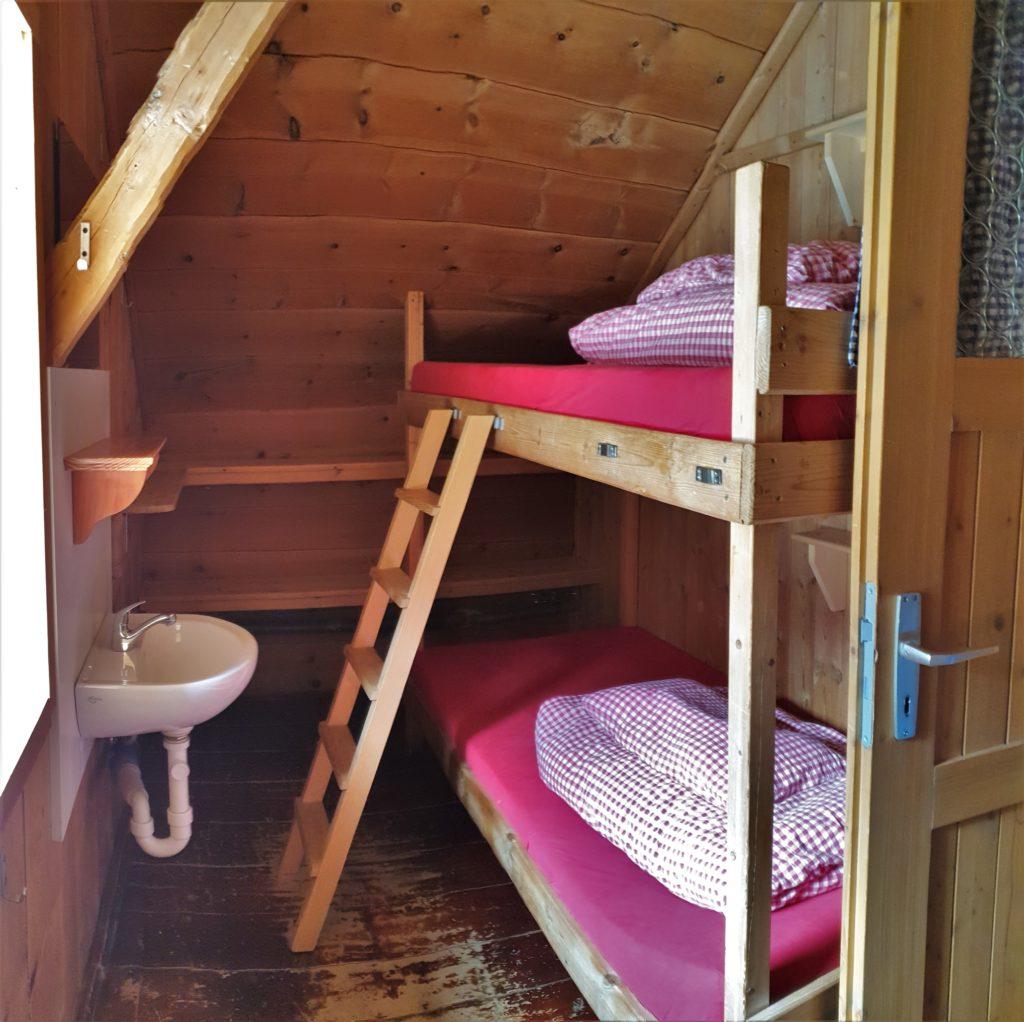 Zimmer in der Winnebachseehütte mit Stockbett